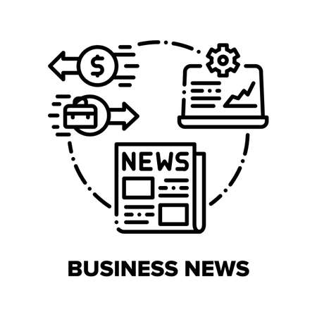 Business News Vector Icon Concept. Business Newspaper And Online Analytics Process, Economic Information And Financial Article Publication. Digital Internet Daily Journal Black Illustration Vettoriali