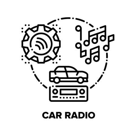 Car Radio Device Vector Icon Concept. Car Audio Stereo System For Playing Music, Automobile Electronic Technology, Vehicle Digital Multimedia Gadget, Media Player Black Illustration