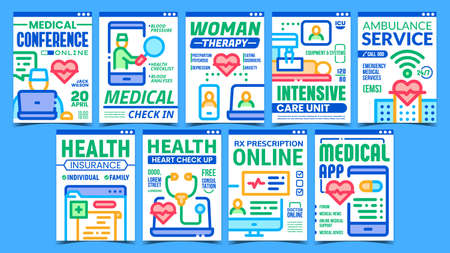 Telemedicine Creative Promotion Posters Set Vector. Medical Check In And Check Up, Online Conference And Rx Prescription Telemedicine Advertising Banners. Concept Template Style Color Illustrations Ilustração