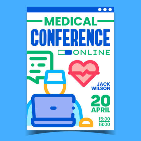 Online Medical Conference Promotion Banner Vector. Doctor Medicine Remote Conference Advertising Poster. Medical Worker Internet Meeting With Colleagues Concept Template Style Color Illustration