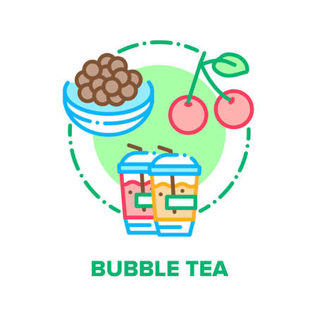 Bubble Tea Drink Vector Icon Concept. Bubble Tea Refreshness Beverage With Cherry Berry And Chocolate Balls, Delicious Sweet Fruity Summer Cocktail. Refreshing Smoothie Color Illustration