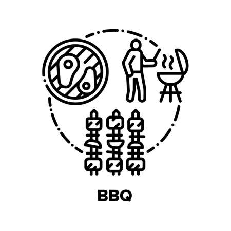Bbq Picnic Food Vector Icon Concept. Barbeque Fried Meat With Vegetables, Chef Grilling And Frying Marinated Beef Or Pork On Bbq Equipment With Spices, Tomatoes And Onion Black Illustration