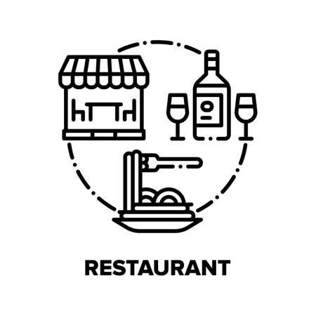 Restaurant Food Vector Icon Concept. Restaurant Fresh Cooked Meal Spaghetti And Wine Bottle With Glasses, Cafe Building For Eating Delicious Dish And Drink Alcoholic Beverage Black Illustration