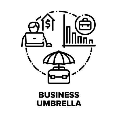 Business Umbrella Accessory Vector Icon Concept. Business Umbrella Professional Recruitment, Training, Consulting And Advertising Company. Financial Report And Safe Black Illustration