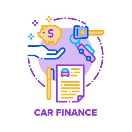 Car Finance Vector Icon Concept. Car Buying Dealer Agreement And Insurance Documents, Customer Save Money For Buy Automobile Or Calculating Cost And Expense Of Driving Color Illustration