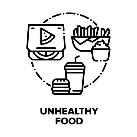Unhealthy Food Vector Icon Concept. Burger And Drink, Fried Potato With Sauce And Pizza, Restaurant Food Fatness Menu. Fat Nutrition Lunch And Dinner, Tasty Junk Meal Black Illustration Vector Illustratie