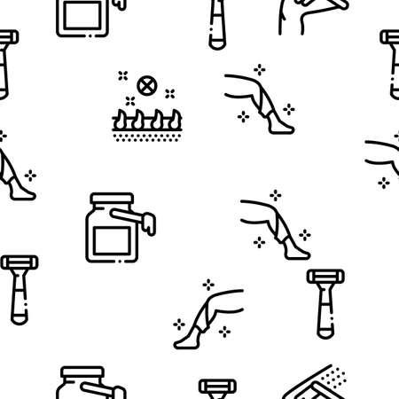 Depilation Procedure Seamless Pattern Vector Thin Line. Illustrations