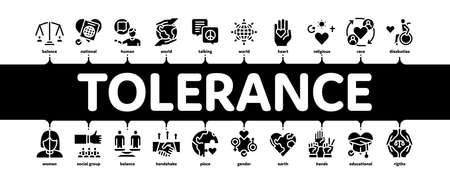 Tolerance And Equality Minimal Infographic Web Banner Vector. Tolerance For Different Religion And Race, People With Disabilities And Gender Black Illustration Vector Illustration