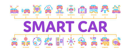 Smart Car Technology Minimal Infographic Web Banner Vector. Smart Car Autopilot And Help Parking, Satellite Connection And Phone Application Color Illustration