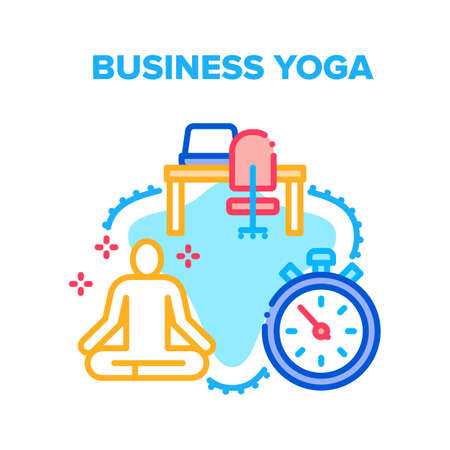 Business Yoga Vector Icon Concept. Business Yoga Relaxation Exercise At Workplace, Employee Meditating And Relaxing In Office. Relax And Meditation Time At Workspace Color Illustration