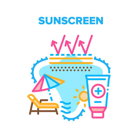 Sunscreen Cream Vector Icon Concept. Sunscreen Skin Protection Lotion, Creamy Cosmetic Tube For Protect And Skincare From Sun. Sunblock For Resting On Beach And Good Sunburn Color Illustration