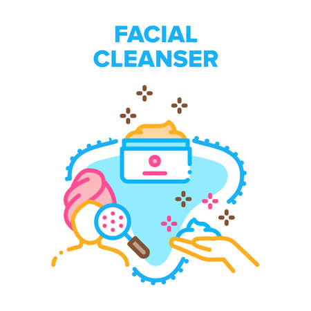 Facial Cleanser Vector Icon Concept. Facial Cleanser Cream Package, Face Skin Care And Cleansing Natural Cosmetic. Beauty Treatment And Skincare, Purifying Product Color Illustration