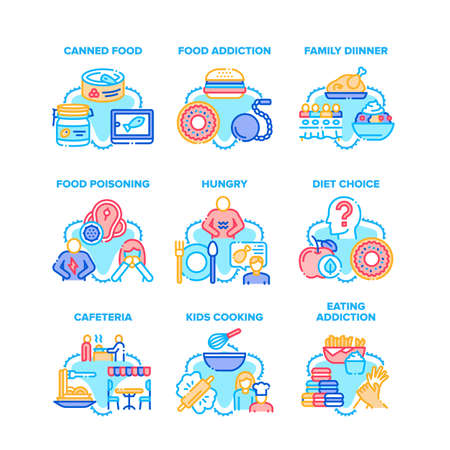 Food Addiction Set Icons Vector Illustrations. Canned And Poisoning Food, Hungry Human Eating Meal In Cafeteria And Diet Choice, Kids Cooking Delicious Dish And Family Dinner Color Illustrations Vektorové ilustrace