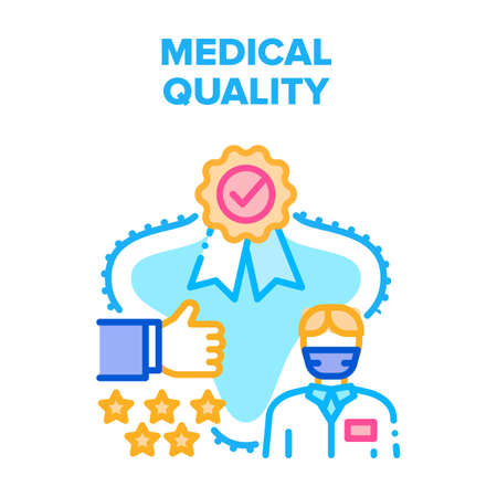 Medical Quality Vector Icon Concept. Medical Quality Hospital Treatment Care Review And Feedback, Award And Medal For Clinic Service Or Professional Medicine Skills Color Illustration Vektorgrafik