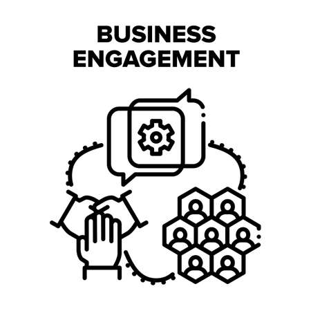Business Engagement Project Vector Icon Concept. Business Engagement In Video Call Conference With Partners Or Company Employees, Discussing About Working Process Or Planning Black Illustration