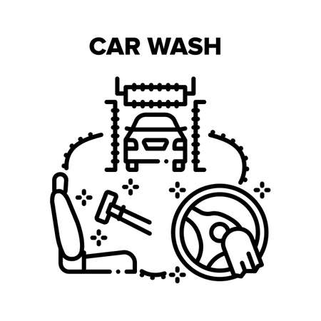 Car Wash Service Vector Icon Concept. Body Car Wash And Cleaning Salon And Steering Wheel. Washing Technology Automation Station For Clean Vehicle, Carwash Equipment And Accessories Black Illustration