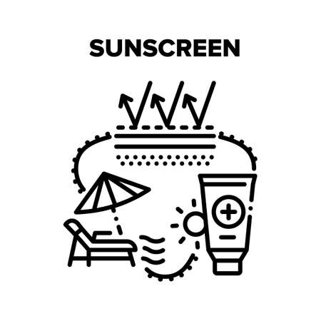 Sunscreen Cream Vector Icon Concept. Sunscreen Skin Protection Lotion, Creamy Cosmetic Tube For Protect And Skincare From Sun. Sunblock For Resting On Beach And Good Sunburn Black Illustration