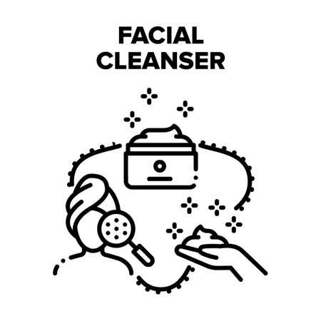 Facial Cleanser Vector Icon Concept. Facial Cleanser Cream Package, Face Skin Care And Cleansing Natural Cosmetic. Beauty Treatment And Skincare, Purifying Product Black Illustration