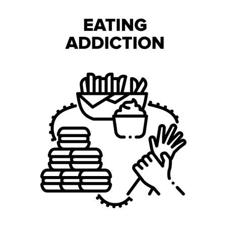 Eating Addiction Vector Icon Concept. Eating Addiction For Fat Fast Food And Sugary Dessert. Potato French Fries And Macaroons Delicious Dish. Overweight And Health Problem Black Illustration