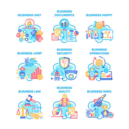 Business Occupation Set Icons Vector Illustrations. Business Unit And Documents, Happy Jump And Security, Operations And Law, Agility And Hero. Partnership And Relationship Color Illustrations