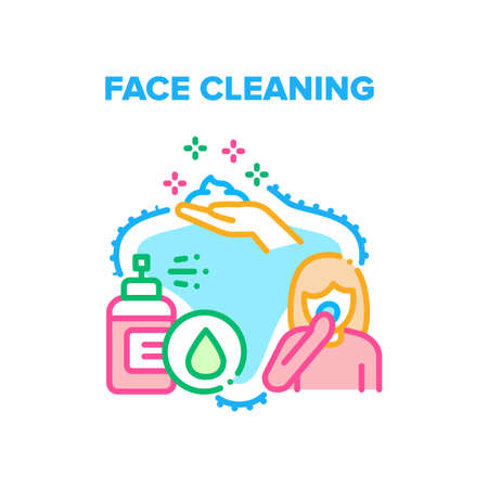Face Cleaning Vector Icon Concept. Face Cleaning Foamy Lotion Spray And Organic Cream Or Scrub. Refreshing Facial Skin And Treatment. Healthcare Dermatology Treat Color Illustration