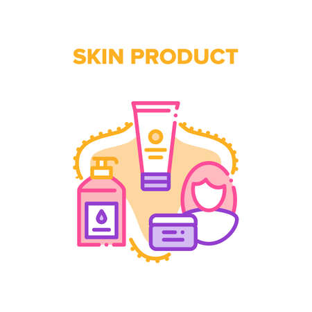 Skin Product Vector Icon Concept. Cream Tube, Lotion Bottle With Pump And Scrub Container Skin Product. Woman Moisturzing And Cleaning Skincare And Makeup Cosmetics Color Illustration Иллюстрация