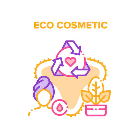 Eco Cosmetic Vector Icon Concept. Natural Eco Cosmetic For Skin And Body Care, Bio Cream For Facial Makeup Or Cleansing. Herbal Ingredient Beauty Moisturizing Product Color Illustration
