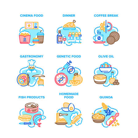 Food Delicious Set Icons Vector Illustrations. Cinema Meal , Homemade And Genetic Food, Dinner And Coffee Break, Gastronomy And Fish Products, Quinoa And Olive Oil Color Illustrations