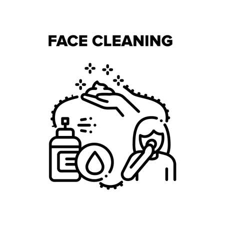 Face Cleaning Vector Icon Concept. Face Cleaning Foamy Lotion Spray And Organic Cream Or Scrub. Refreshing Facial Skin And Treatment. Healthcare Dermatology Treat Black Illustration