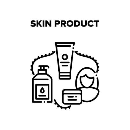 Skin Product Vector Icon Concept. Cream Tube, Lotion Bottle With Pump And Scrub Container Skin Product. Woman Moisturzing And Cleaning Skincare And Makeup Cosmetics Black Illustration