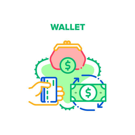Wallet With Cash Vector Icon Concept. Wallet Accessory For Storaging Money Banknotes And Credit Card, Finance Storage And Carrying. Dollar Currency Exchange And Financial Turnover Color Illustration Ilustración de vector