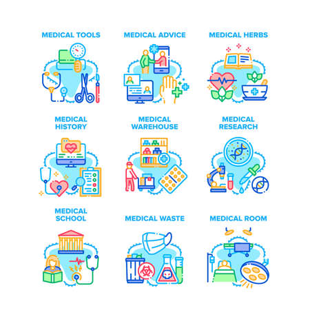 Medical Advice Set Icons Vector Illustrations. Medical Tools And Equipment, Warehouse And School, History Research And Dangerous Waste, Health Treatment Herbs And Medicaments Color Illustrations Vektorgrafik
