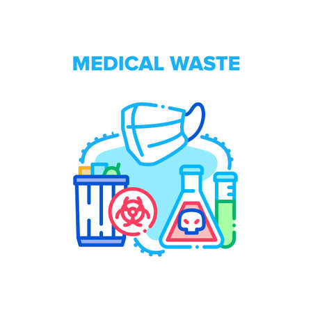 Medical Waste Vector Icon Concept. Used Infectious Masks And Medicine Laboratory Analysis In Trash Bin Container, Separating Infected Medical Waste. Clinic Biological Garbage Color Illustration