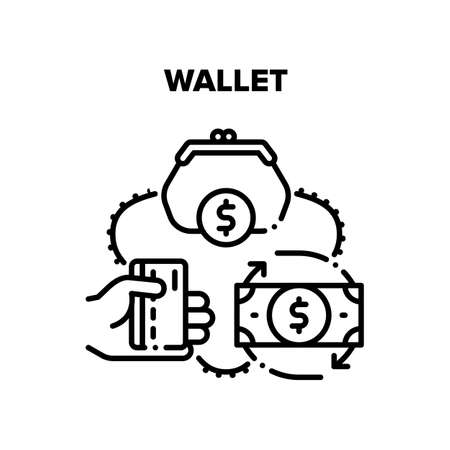 Wallet With Cash Vector Icon Concept. Wallet Accessory For Storaging Money Banknotes And Credit Card, Finance Storage And Carrying. Dollar Currency Exchange And Financial Turnover Black Illustration