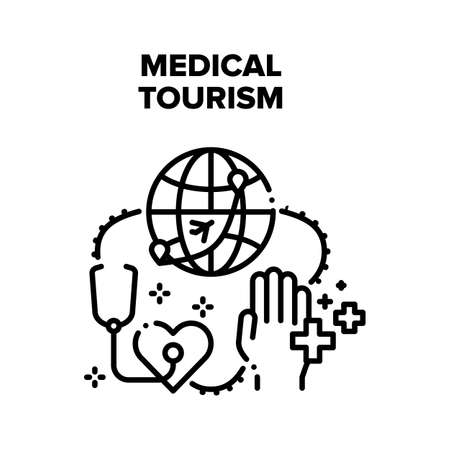 Medical Tourism Vector Icon Concept. International Medical Tourism And Insurance For Health Care For Visit Country On Vacation. Medicine Service Transportation Illness Patient Black Illustration Vettoriali