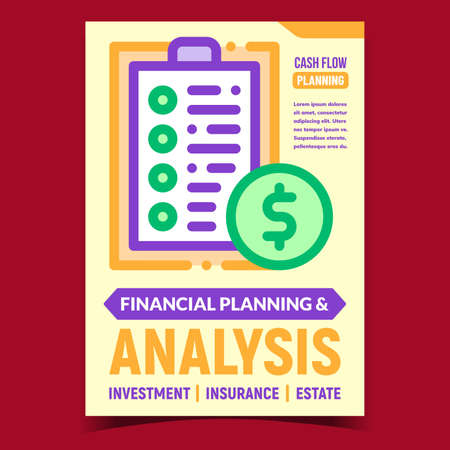Finance Planning And Analysis Promo Poster Vector. Financial Analysis For Money Investment, Insurance And Real Estate Advertising Banner. Cash Flow Concept Template Style Color Illustration