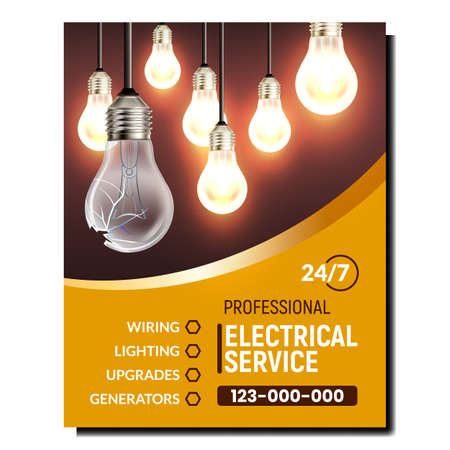Electrical Service Maintenance Promo Banner Vector. Wiring And Lighting, Upgrades And Generators Electrical Service Advertising Poster. Damaged Lightbulb Replacement Style Concept Layout Illustration