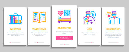Maternity Hospital Onboarding Mobile App Page Screen Vector. Hospital Prenatal Ward And Generic Chair, Anesthesiologist And Obstetrician, Contractions And Placenta Illustrations