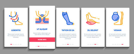 Varicose Veins Disease Onboarding Mobile App Page Screen Vector. Varicose Symptoms And Treatment, Legs Pain And Medicine Cream, Ultrasound And Surgery Illustrations Ilustración de vector