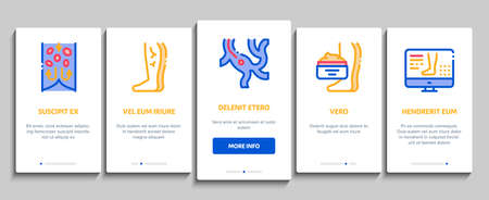 Varicose Veins Disease Onboarding Mobile App Page Screen Vector. Varicose Symptoms And Treatment, Legs Pain And Medicine Cream, Ultrasound And Surgery Illustrations