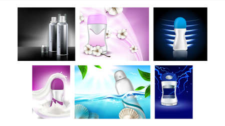 Deodorant Antiperspirant Promo Posters Set Vector Illustration Vektorové ilustrace
