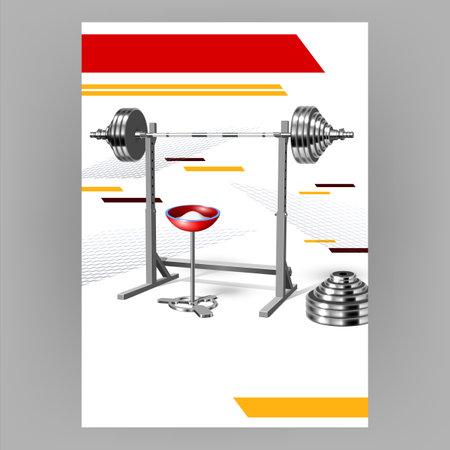 Fitness Gym Equipment Advertising Poster Vector Illustration