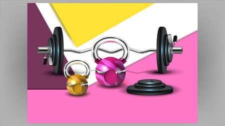 Fitness Club Creative Advertising Banner Vector Illustration