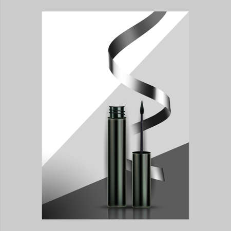Eyeliner Waterproof Cosmetic Promo Banner Vector Illustration