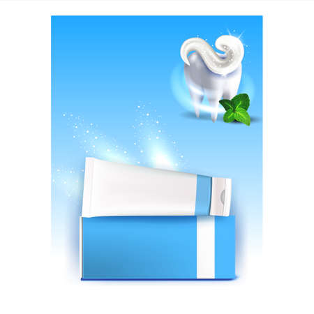 Toothpaste Tooth Protection Promo Poster Vector Illustration