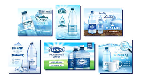 Mineral Water Creative Promo Posters Set Vector