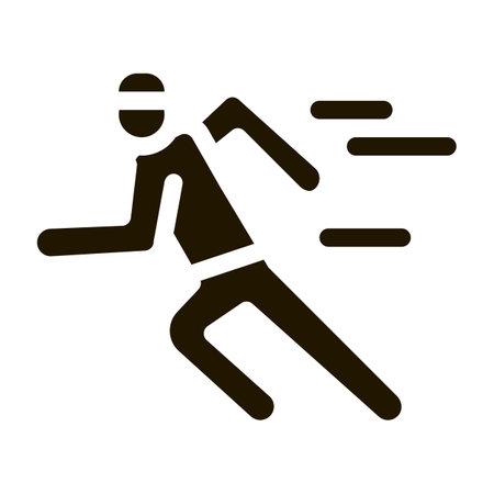 Running Player Icon Vector Glyph Illustration