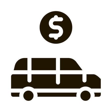 Car Dollar Coin Icon Vector Glyph Illustration