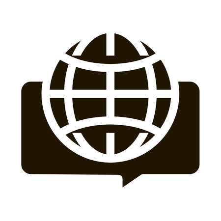 Earth Globe In Quote Frame Icon Vector