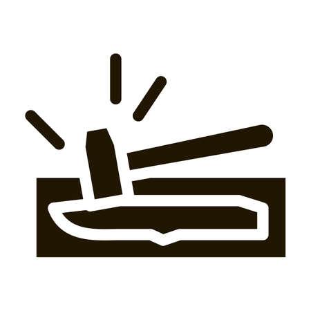 Knife Hammer Icon Vector Glyph Illustration